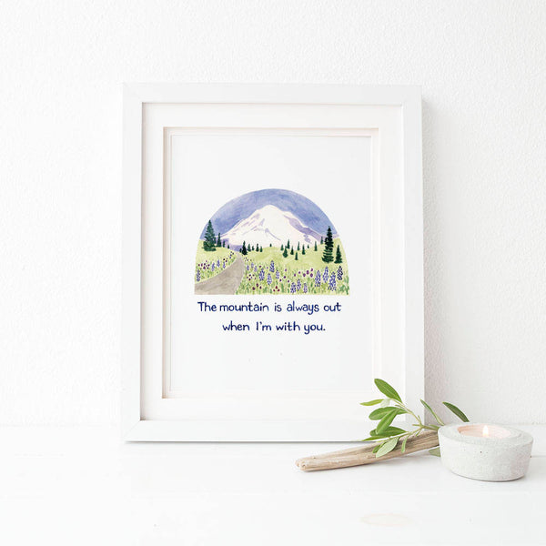 The Mountain Is Out Watercolor Art Print, Mt Rainier Art Print