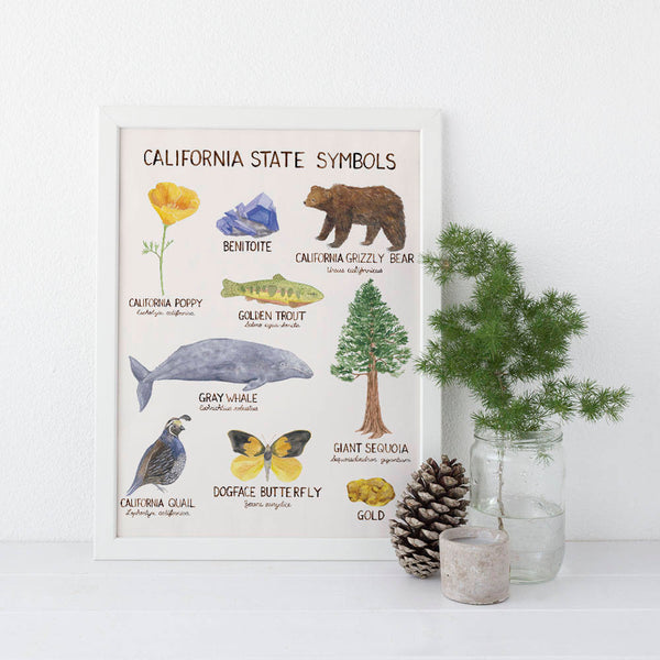 California State Symbols Watercolor Art Print