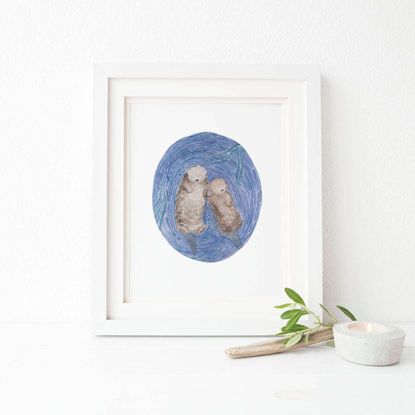 Otters Watercolor Art Print