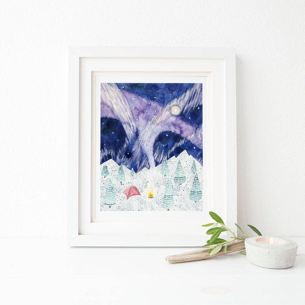 Camping Watercolor Art Print