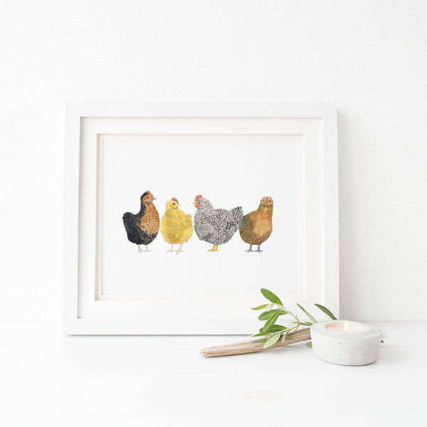 Chickens Art Print, Watercolor Farmhouse Decor