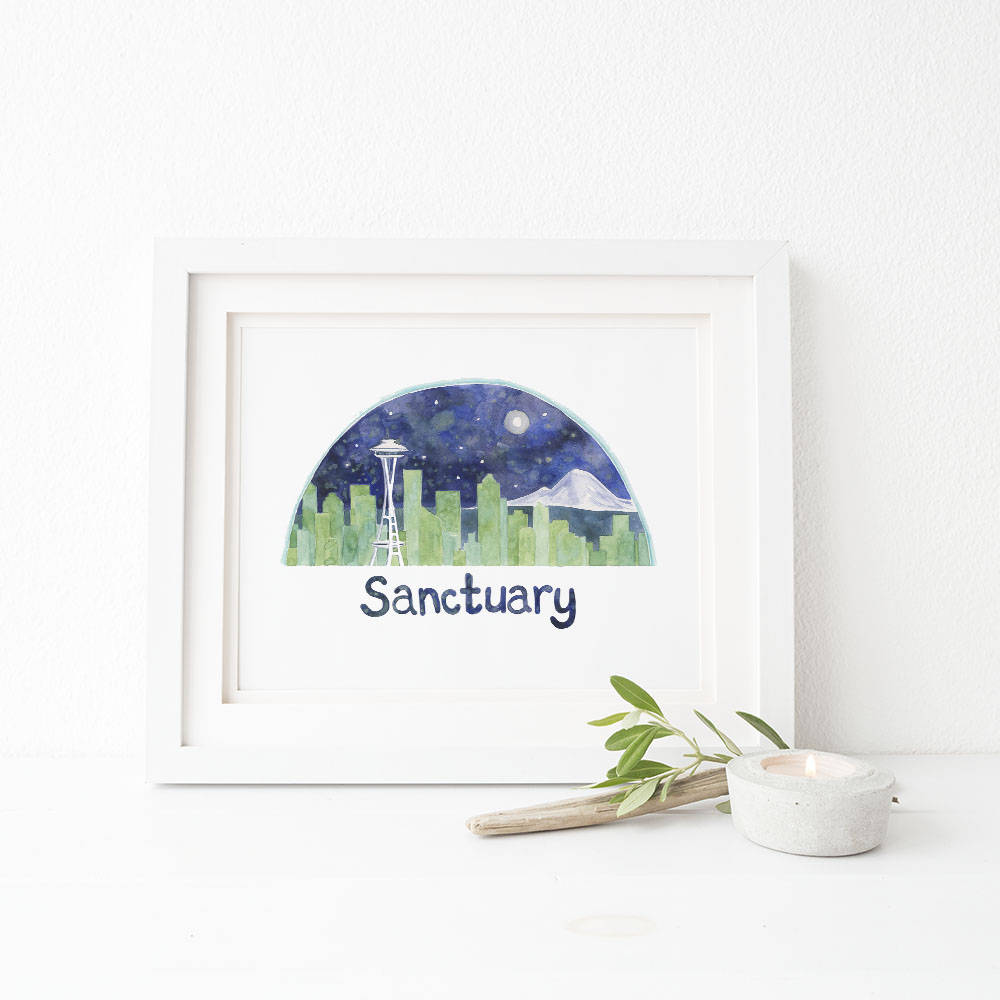Seattle Watercolor Art Print