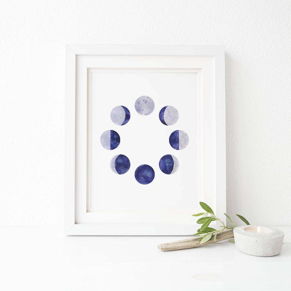 Moon Cycles Watercolor Art Print, Boho Decor
