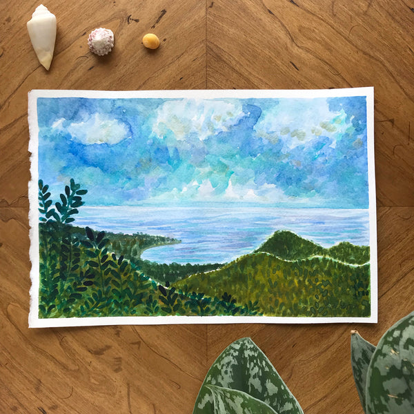 Guam Landscape Original Watercolor Painting