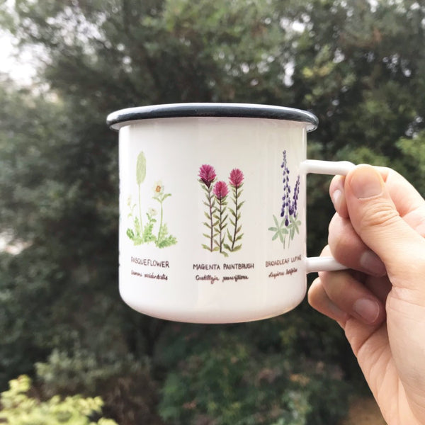 Wildflowers Camp Mug, Pacific Northwest Enamel Camping Mug