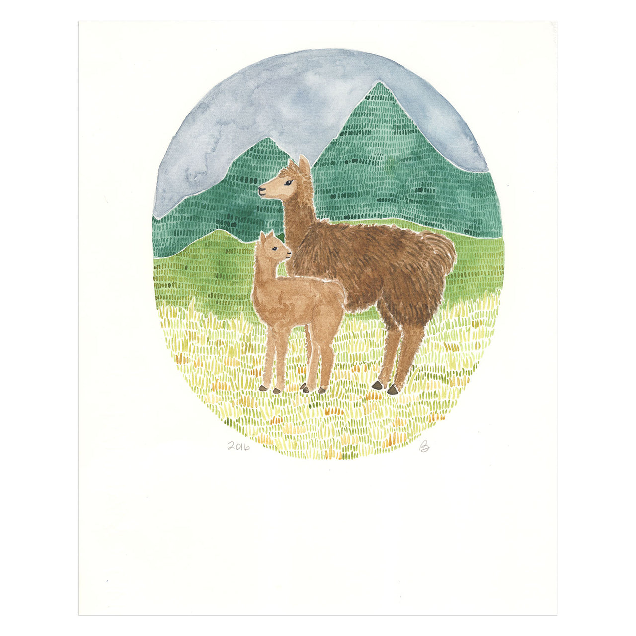 Llamas Original Watercolor Painting