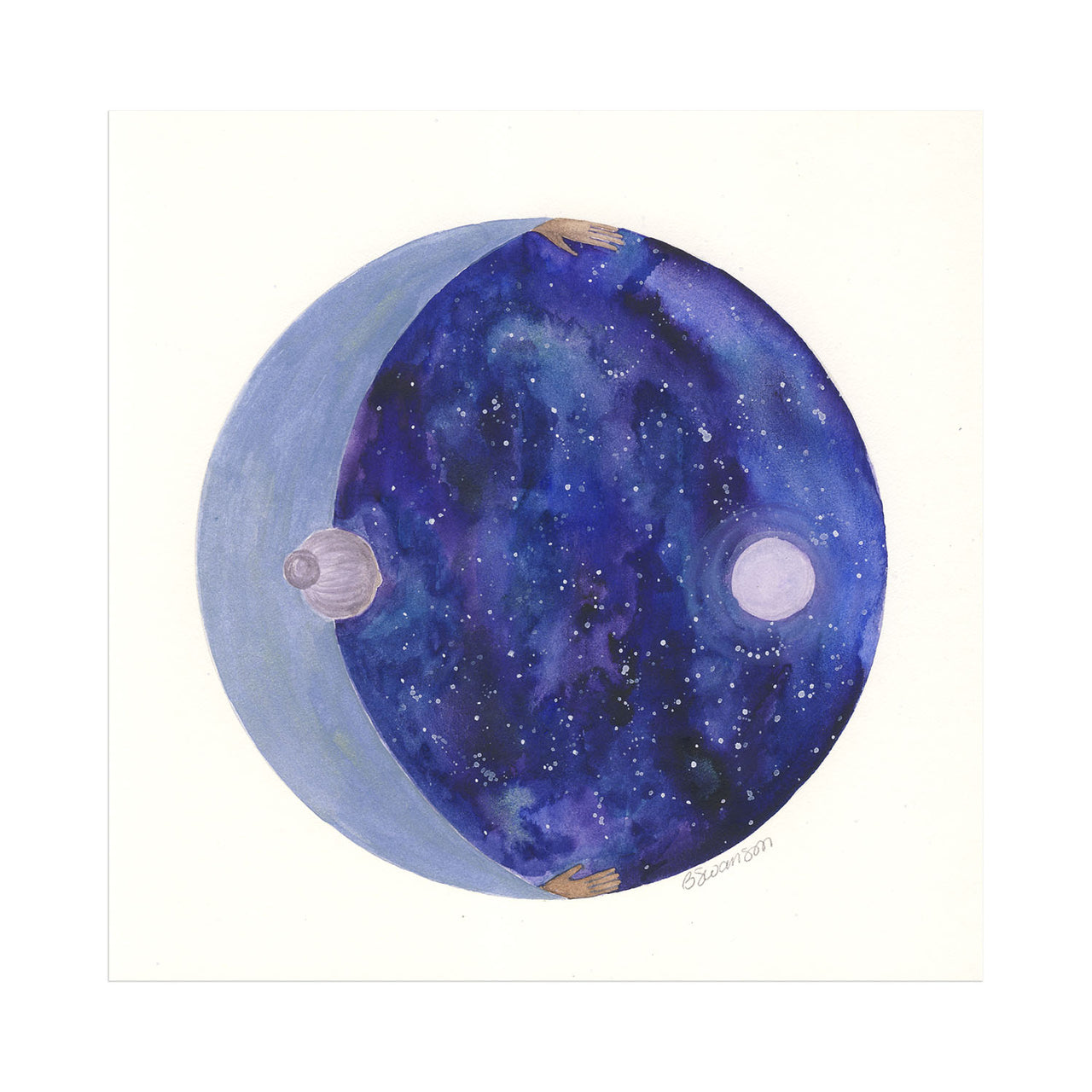 Mother Moon Original Watercolor Painting