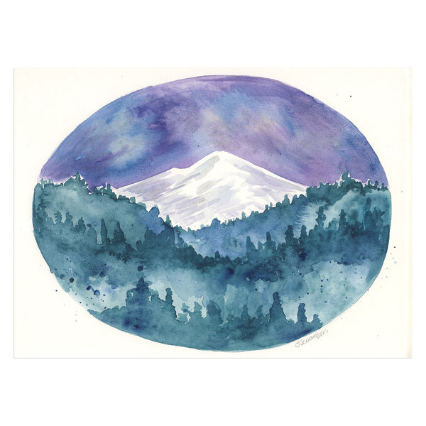 Mountain Forest Original Watercolor Painting