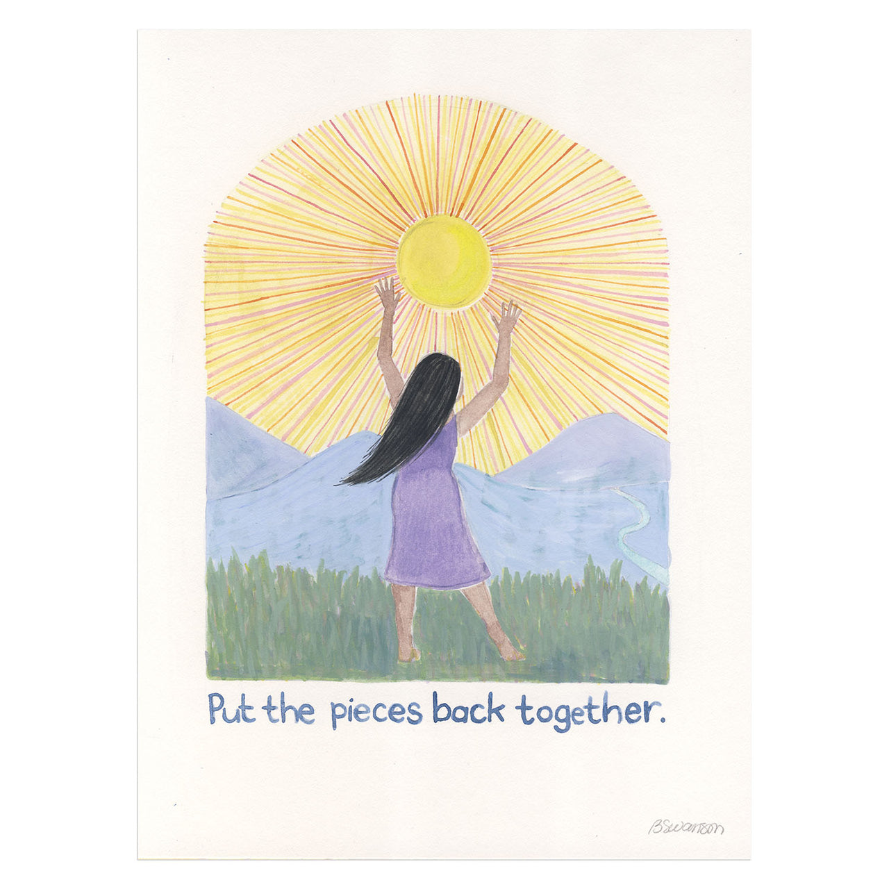 Put the Pieces Back Together Original Watercolor Painting