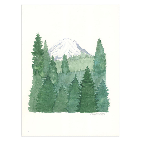 Mt. Rainier and Forest Original Watercolor Painting