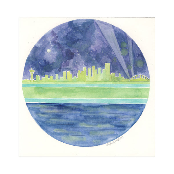 Seattle Sounders Skyline Original Watercolor Painting