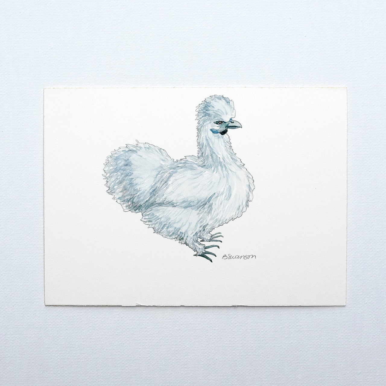 Silkie Chicken Original Watercolor Painting