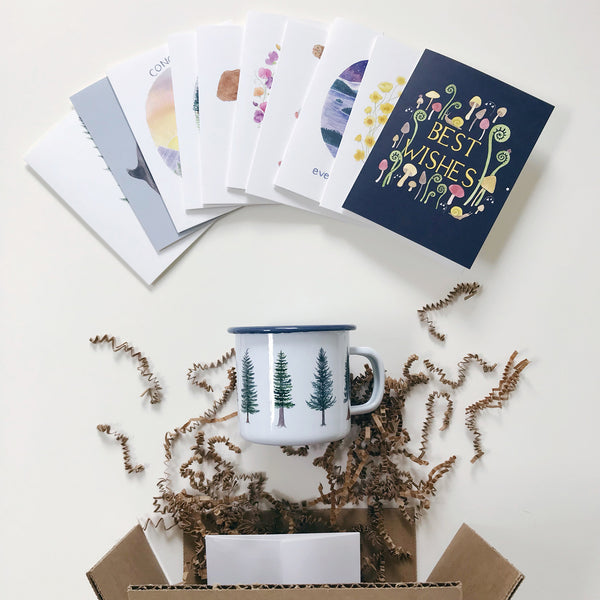 surprise box of imperfect cards and enamel mug