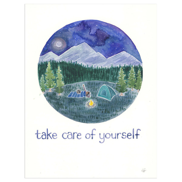 take care of yourself original watercolor painting by Yardia