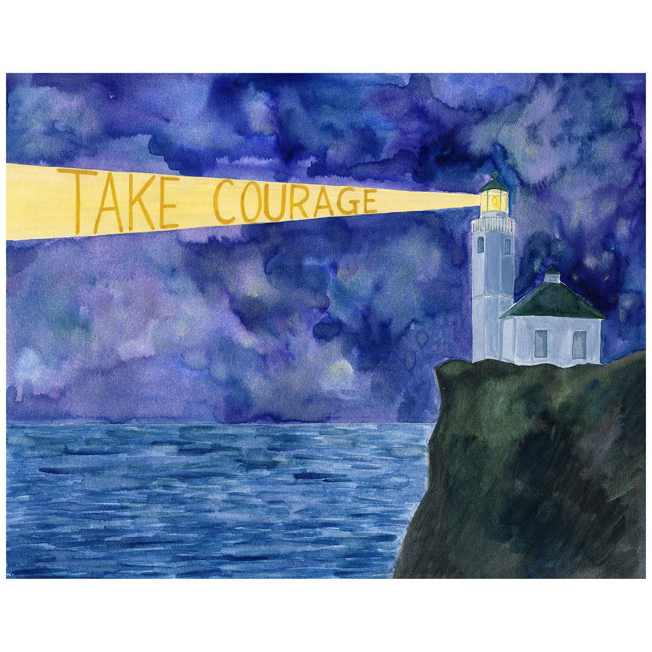 Take Courage Original watercolor painting by Yardia. Lighthouse painting