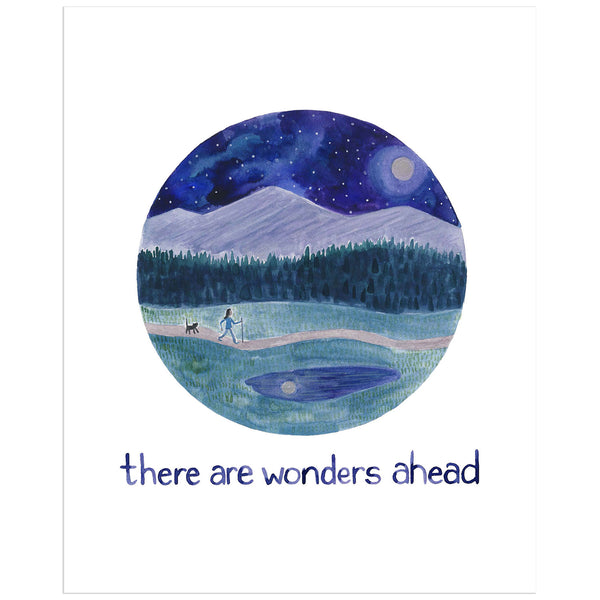 There are wonders ahead original watercolor painting with hiker by Yardia