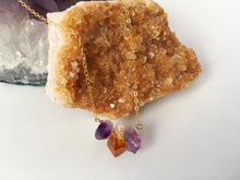 Load image into Gallery viewer, Raw Amethyst-Citrine-Amethyst Crystal Gemstone Gold Filled Necklace