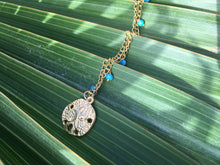 Load image into Gallery viewer, Blue Turquoise & Gold Filled Dollar Sand Shell Charm Necklace