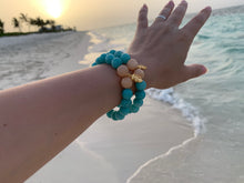 Load image into Gallery viewer, Faceted Blue Dyed Jade Gemstone Monstera Leaf Charm Bracelet