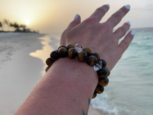 Tiger Eye & Herkimer Diamond Healing Crystals Bracelet