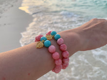Load image into Gallery viewer, Faceted Pink Dyed Jade Gemstone Monstera Leaf Charm Bracelet