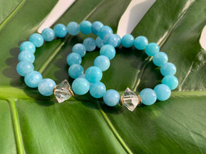 Aquamarine & Large Herkimer Diamond Healing Crystal Gemstone Bracelet
