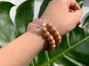 Rose Quartz Healing Crystal & Sandalwood Beads Bracelet