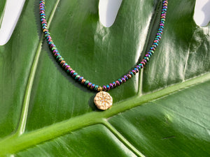 Multi-color Hematite & Stardust Gold Charm Choker Necklace