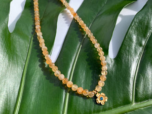 Citrine Healing Crystal Gemstone Beads & Gold Flower Choker Necklace
