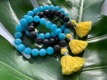 Load image into Gallery viewer, Aquamarine Healing Crystal Lava Beads & Yellow Tassel Bracelet