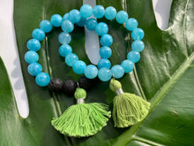 Load image into Gallery viewer, Aquamarine Healing Crystal Lava Beads & Green Tassel Bracelet