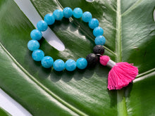 Load image into Gallery viewer, Aquamarine Healing Crystal Lava Beads & Hot Pink Tassel Bracelet