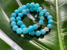 Load image into Gallery viewer, Aquamarine Healing Gemstone & Silver Plated Cherry Blossom Charm Bracelet