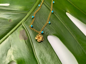 Blue Turquoise & Gold Filled Plumeria Charm Necklace