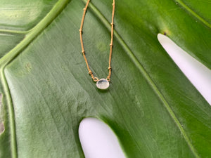 Dainty Moonstone Healing Crystal Gemstone Gold Filled Satellite Chain Necklace