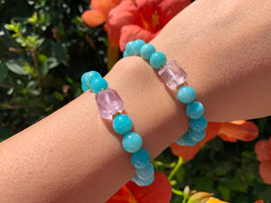 8mm Amazonite and Raw Lavender Kunzite Healing Crystal Bracelet