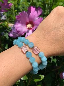 8mm Aquamarine and Raw Lavender Kunzite Healing Crystal Bracelet