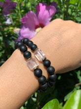 Load image into Gallery viewer, 8mm Black Onyx and Raw Lavender Kunzite Healing Crystal Bracelet