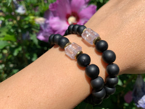 8mm Black Onyx and Raw Lavender Kunzite Healing Crystal Bracelet