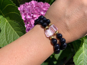 8mm Blue Sandstone and Raw Lavender Kunzite Healing Crystal Bracelet