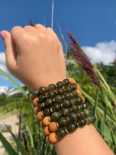 Load image into Gallery viewer, 10mm Green Garnet Healing Crystal Gemstone & Sandalwood Bead Bracelet