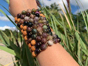 10mm Tourmaline Healing Crystal Gemstone & Sandalwood Bead Bracelet