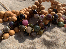 Load image into Gallery viewer, 10mm Tourmaline Healing Crystal Gemstone & Sandalwood Bead Bracelet