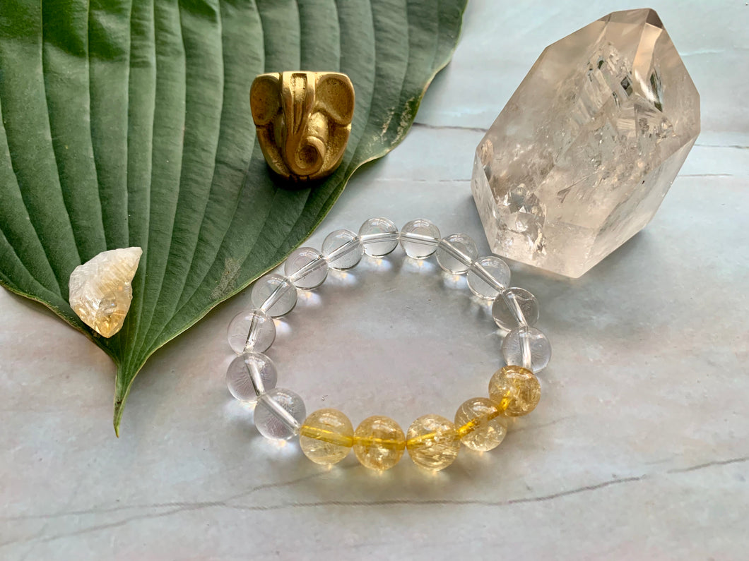 Citrine and Quartz Gemstone Healing Crystal Bracelet