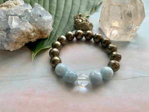 Awaken and Make Your Dreams a Reality with Pyrite Celestite Quartz Gemstone Bracelet