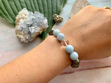 Load image into Gallery viewer, Awaken and Make Your Dreams a Reality with Pyrite Celestite Quartz Gemstone Bracelet