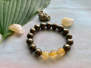 Pyrite and Citrine Gemstone Healing Crystal Bracelet