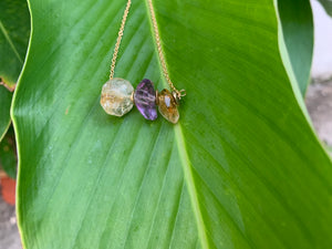 Amethyst and Citrine Crystal Gemstone Gold Filled Necklace