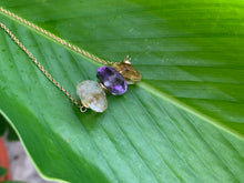 Load image into Gallery viewer, Amethyst and Citrine Crystal Gemstone Gold Filled Necklace