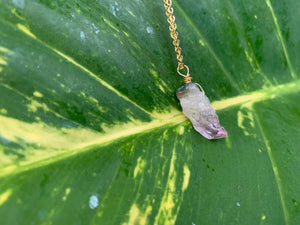 Raw Amethyst Gemstone Healing Crystal Gold Filled Pendant Necklace 0.2